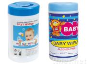 Baby wet wipes in container