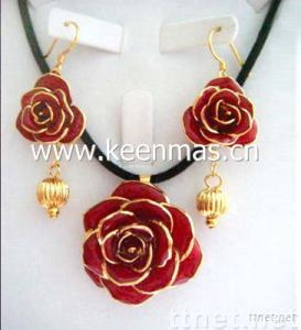 Natural Rose Jewelry set with Necklace&Earring _fashion jewelry set / sterling silver jewelry set