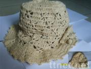 100% Hemp hat with lacework by handmade crocheting