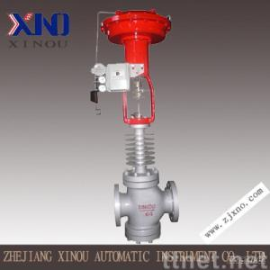 Pneumatic double-seated control valve
