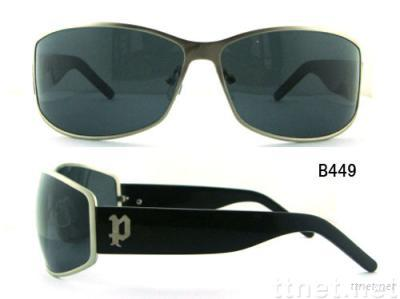 Metal sunglasses with acetate temples
