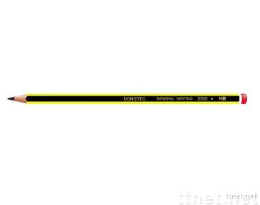 HB pencil with end dipped and stripped in yellow/black