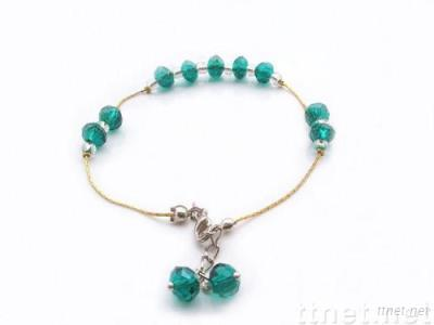 bottle-green crystal anklet