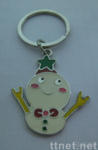 Metal key tags, snowman key chains