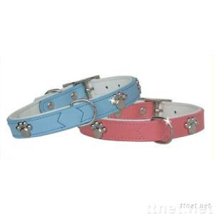 Soft Leather Dog Collar with Metal Paw