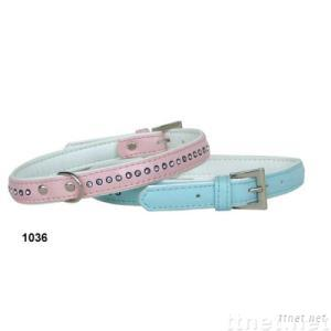 SoftLeather Dog Collar with Crystal Line
