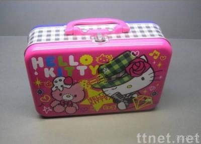 Tin lunch box with plastic handle