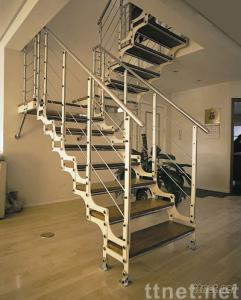 wood-steel staircase (twin-stringers)