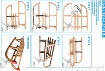 Wooden Unfolding Snow Sled