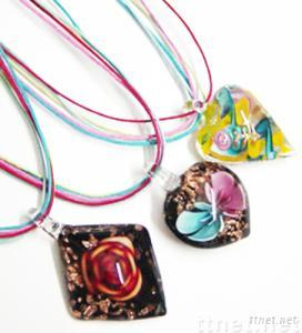 colorful glass pendant necklace