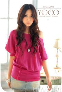Best selling Fashion Short Sleeve Button Lap lady Rose Cotton T Shirt 521071CH