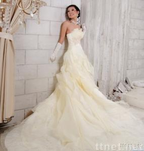 long training pleating beading and embroidery bridal wedding dress gown