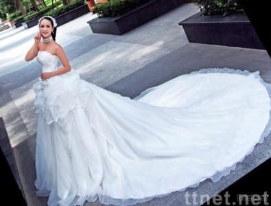 long train wedding dress gown with beading embroidery hand-work flower