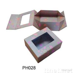 foldable gift box with window