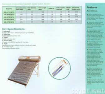 Compact Pressurized System Solar Water Heater