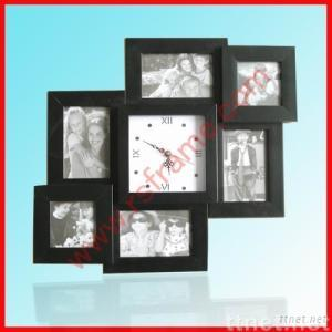 Black Collage Photo Frame With Clock