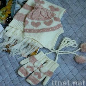 knitted scarf, hat, glove