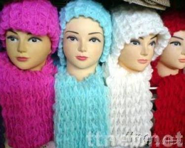 knitted scarf-hat