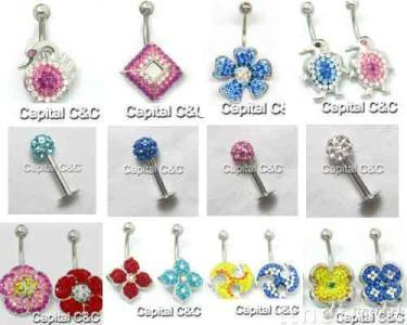 Crystal Collection Navel rings body jewelry