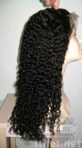 High quality Indian hair 8mm curly 20inch 1B# remy hair lace wig