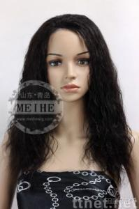 Medium density loosen curl 16 inch 2# remy hair full lace wig
