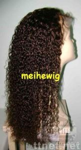 Curly 24 inch color 4# Full lace wig indian hair accept paypal