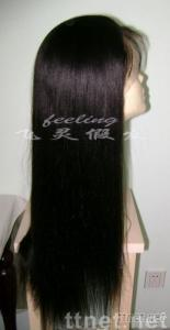 In stock light yaki 24 inch color 1B# remy human hair Full lace wig