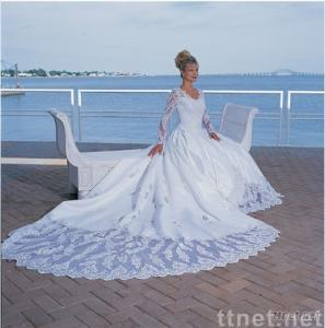 Best Seller Ball Gown Scoop Satin Lace Beading Embroidery Wedding DressW-2341