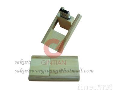 Wooden USB Flash Drive, Swivel USB Memory Disk with Wood