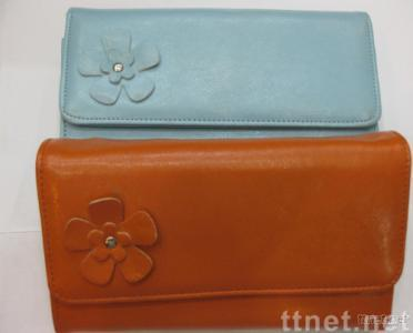 Wholesale PU women's wallet,with a PU flower