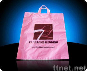 Plastic PE handled bag with pink color