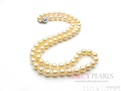 Golden Cultured Akoya Pearl Necklace, 6.5mm-7.0mm , AA+