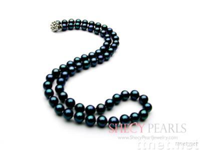 Black Cultured Akoya Pearl Necklace, 6.5mm-7.0mm , AA+