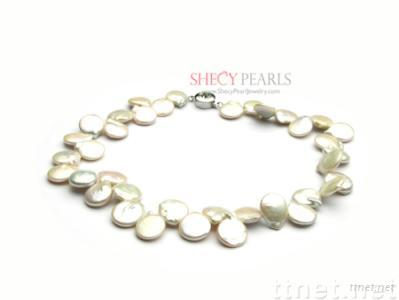 White Cultured Freshwater Pearl Necklace, 13.0mm-14.0mm , A+