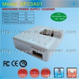 5V/1A USB adapter for mobile phone,mp3/mp4,specially works well on IPHONE and Blackberry