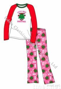 Girl's Pajamas Polyester Two Pieces Set