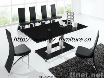 Black Painted Glass Dining Table & Chairs