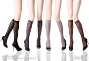 Lozenge with Flower Pattern Knee High Sock/Fishnet