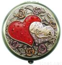 Double Heart Love Compact Mirror